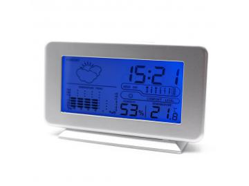 Wetterstation Tischuhr LCD Wecker Temperaturanzeige Luftfeuchte Wettervorhersage
