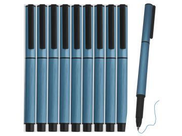 10 Stück Rollerball Aluminium Tintenroller mit Schutzkappe und Clip blaue Mine