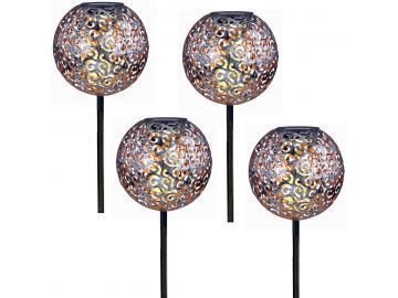 4x LED Solar Kugel Leuchten Antik Dekor Stanzung Garten Steck Strahler Lampen