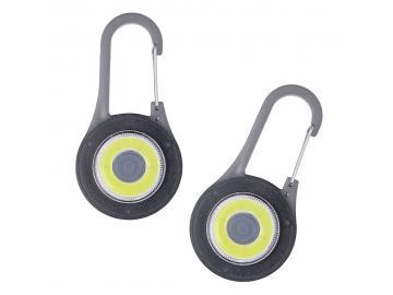 2x LED Sicherheitslicht Warnlicht Reflektor Karabiner Blinklicht 3 Funktionen